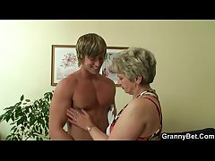 Hot chap bangs lonely granny