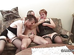 German age-old Grandpa and Grandpa at hand privat Amateur Threesome