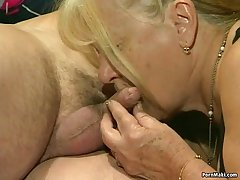 One granny get fucked to foursome action