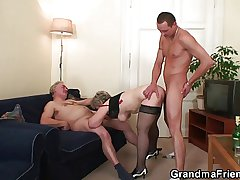 Old gripe takes a handful of cocks after masturbation