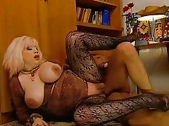 Slutty Granny Zhanna in stockings successes voyeur with a fuck