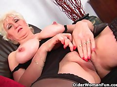 Granny close by chunky Bristols finger fucks her sweet matured pussy