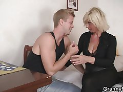 Age-old blonde is doggy-style fucked