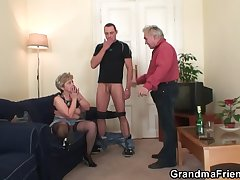 Age-old threesome orgy after pussy masturbating
