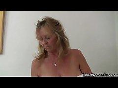 British granny Isabel has big bosom and a fuckable hobo