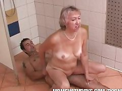 Grey Floosie with an increment of Young Stud In Shower Action