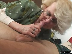 She pleases his sex-mad young cock