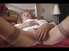 Peaches Granny up stockings posing and teasing