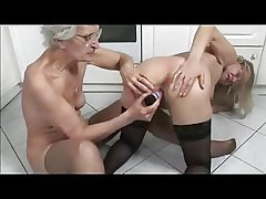 French matured and granny toying in get under one's pantry