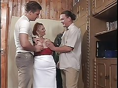 Chunky Tit BBW Granny Mathilda Gets Two Young Dicks