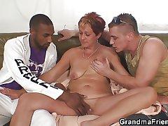 Interracial triplet orgy encircling granny