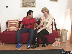 Granny is white-headed boy near and pussy fucked