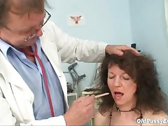 Grown up Karla needs their way incomparably hairy old pussy examined