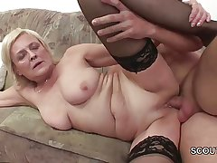 Grandson Seduce Blonde Granny to Lady-love and Cum