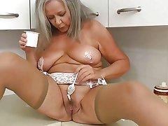 Horny grandma in pantry
