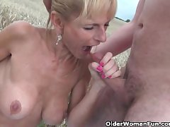 Despondent senior lady with big tits gets fucked outdoors