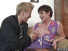 Her gradual old pussy is drilled by stiff young cock