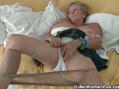 Granny with big tits masturbates adjacent to pantyhose