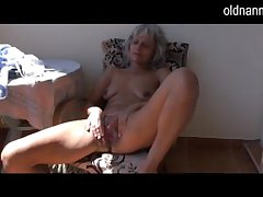 Naughty older Granny masturbating with knick-knack