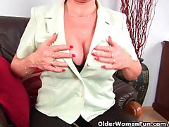 Grandma Forth Stockings Massages Their way Big Boobs Added to Finger Fucks Their way Old Pussy