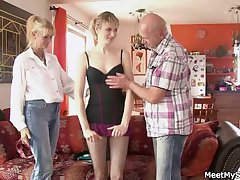She rides her BF's dad cock and mam helps