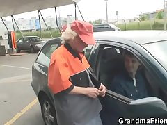 Granny is picked up plus fucked in the fields