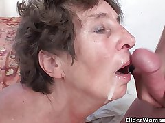 Hairy granny loves anal coition