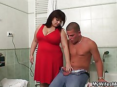 Oustandingly titted mother-in-law helps him cum