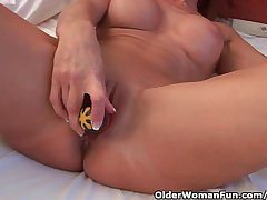 Randy Granny Probes Her Elderly Pussy Forth A Dildo