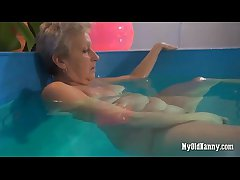 Granny loves their way new pool plaything
