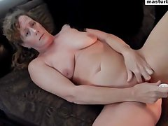 Couch solo with the addition of lord it over orgasm Granny Vanessa