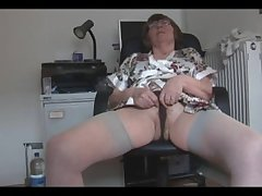 Muted granny thither stockings strips and spreads