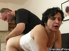 Granny gets will not hear of hairy hole filled hither two cocks