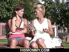 Venerable mother pleases her son's GF with a dildo