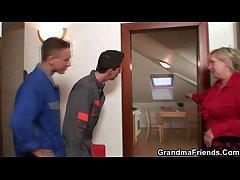 Two repairmen bang dominate grandma