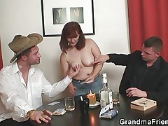 Granny plays party poker added to gets fucked by a handful of guys