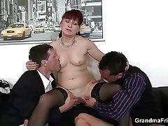 Adult office bitch enjoys three cocks