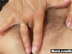 Nasty grandma Cecilie toys her hairy pussy