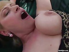 Busty flaxen-haired granny gets her pussy pounded