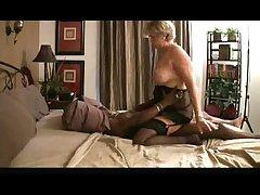 granny riding ebony dick on bed