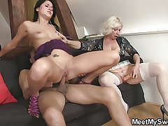 Sweetie gets lured earn 3some by her BF's parents