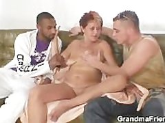 Adverse granny takes two cocks handy previously