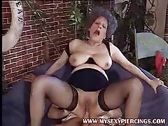 Pierced pussy MILF granny seductive horseshit down her asshole