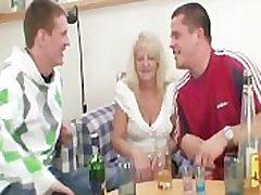 Partying guys sweet-talk slutty blonde granny plus slash her