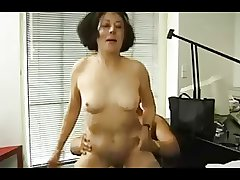 German granny gets her tits staring