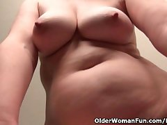Old uncle Kelli strips elsewhere and fingers her hairy pussy