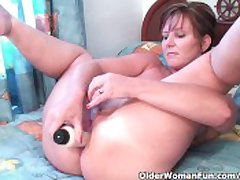 Classy Granny Fucks Her Pussy Coupled with Asshole On every side Dildos Encircling Hotel Room