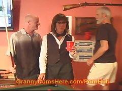 Old GRANNY turns SLUT forwards POOL HALL