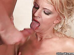 Highly sexed granny makes her painted woman cum on her characteristic