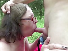 73yr superannuated Granny Seduce Fuck by 18yr superannuated german chum outdoor